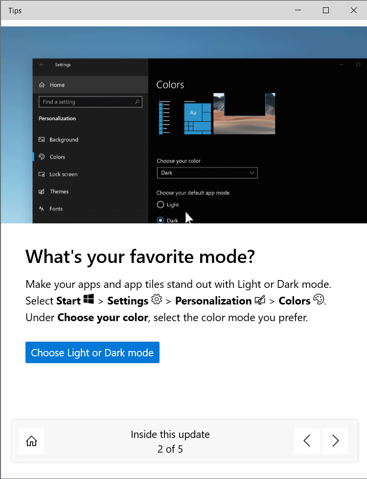 New Microsoft Tips experience