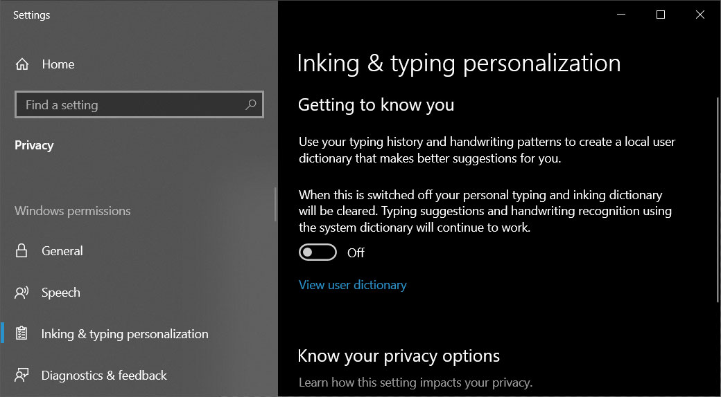 Disable Inking and Typing personalization