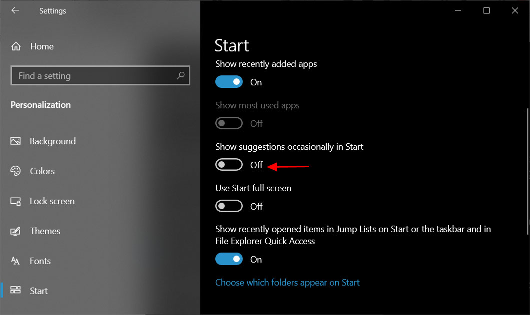 Disable show start menu suggestions