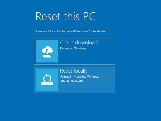 New Reset this PC Menu