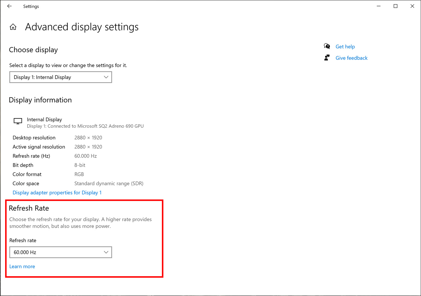 New WIndows 10 refresh rate settings