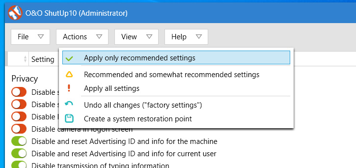 Apply only recommended settings option