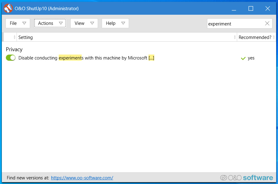 Disable conducting experiments with this machine by Microsoft setting enabled