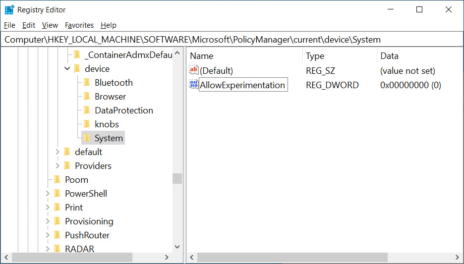 Disabling Windows 10 experiments