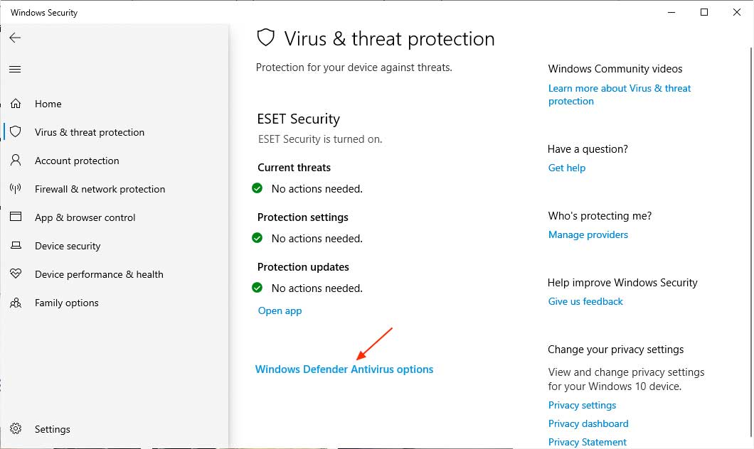 Third party antivirus displayed