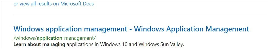 Reference to Windows 10 Sun Valley on Microsoft's documentation site
