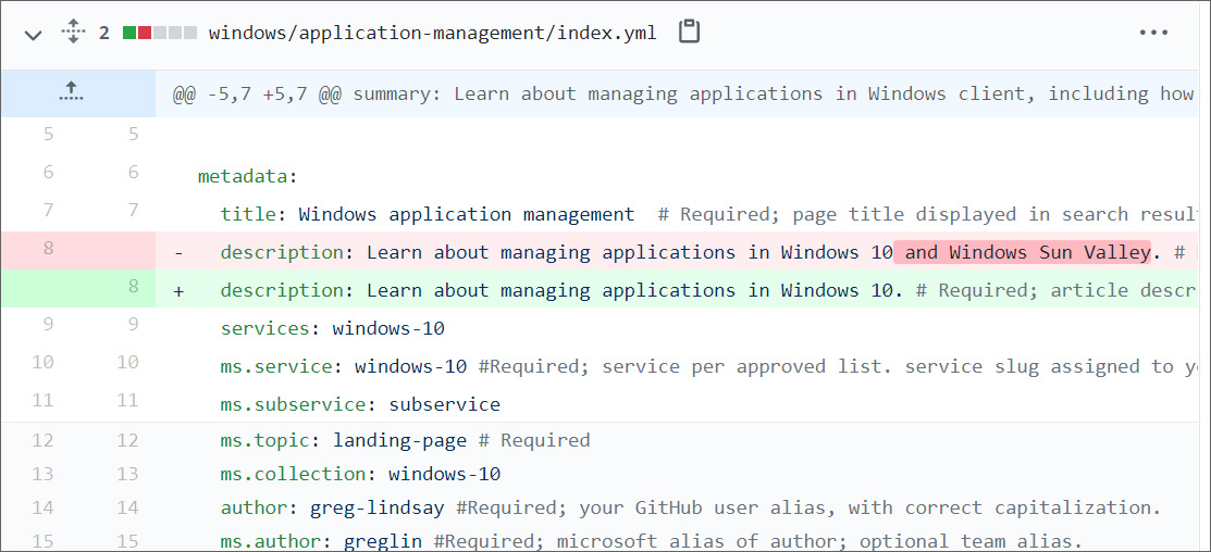 GitHub commit showing removed reference to Windows Sun Valley
