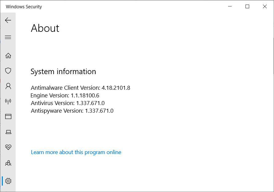 Checking the version of Windows Defender