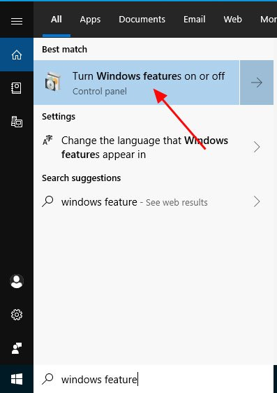 Open Windows Features Control Panel