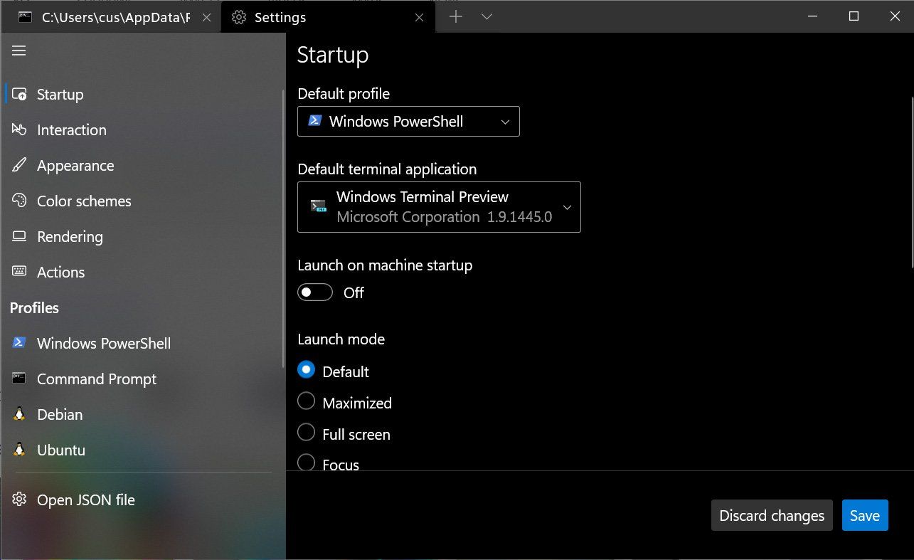 Configuring the default terminal application in Windows Terminal