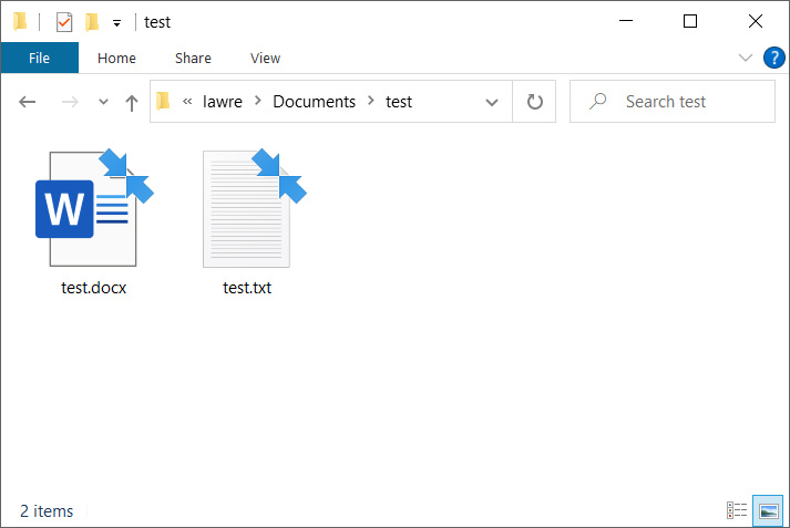 Compressed files in Windows 10