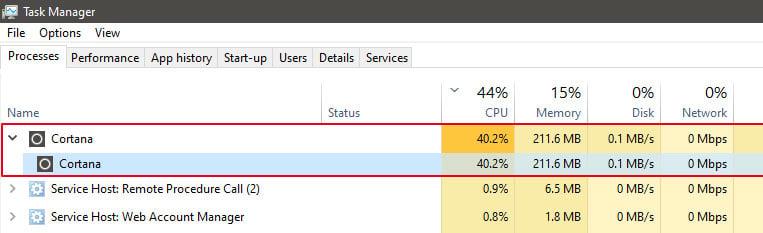 Windows 10 KB4512941 Update Causing High CPU Usage in Cortana