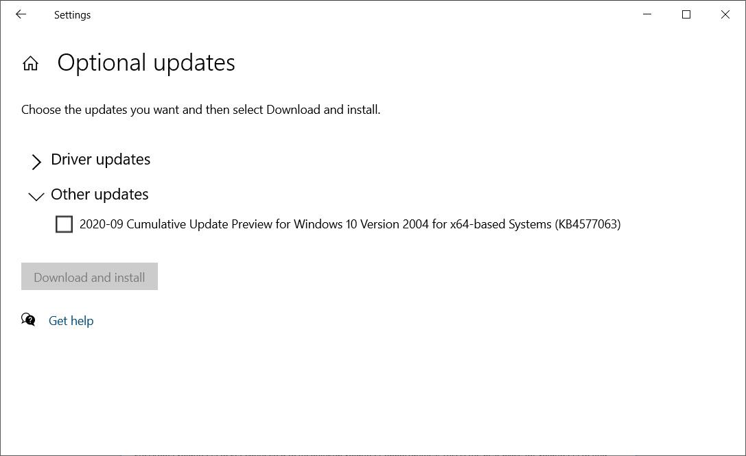 KB4577063 offer under 'Other updates'