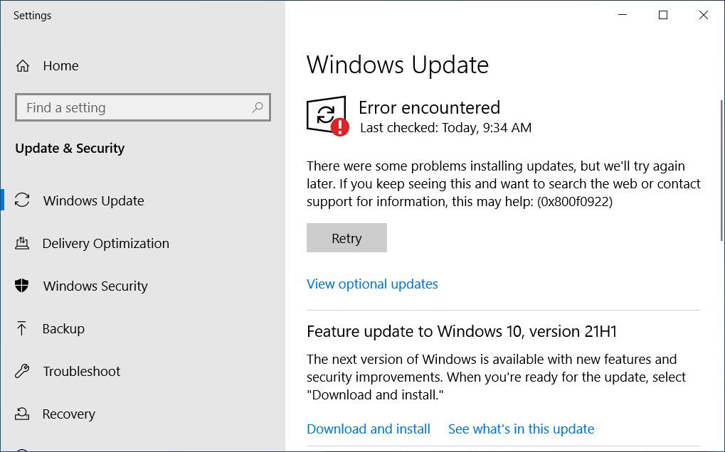 Windows Update failing with an0x800f0922 error