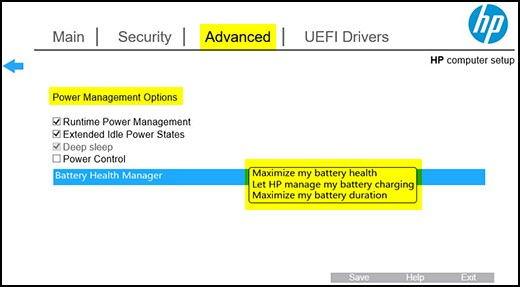 Battery Health Manager in HP BIOS