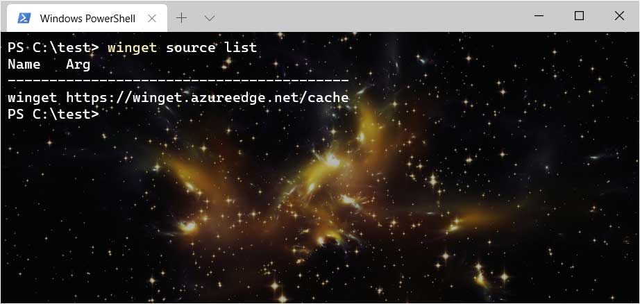 Using the winget source command