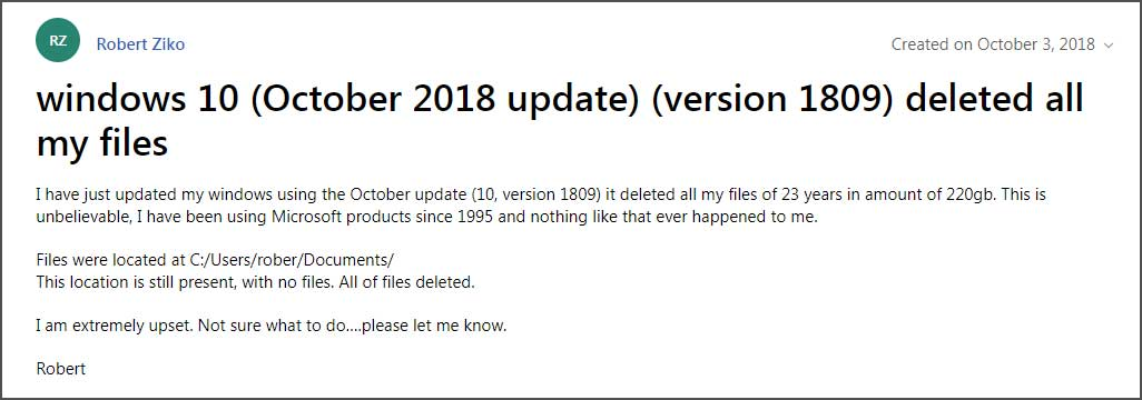 Missing Files, Bugs Reported After Windows 10 October 2018 Update