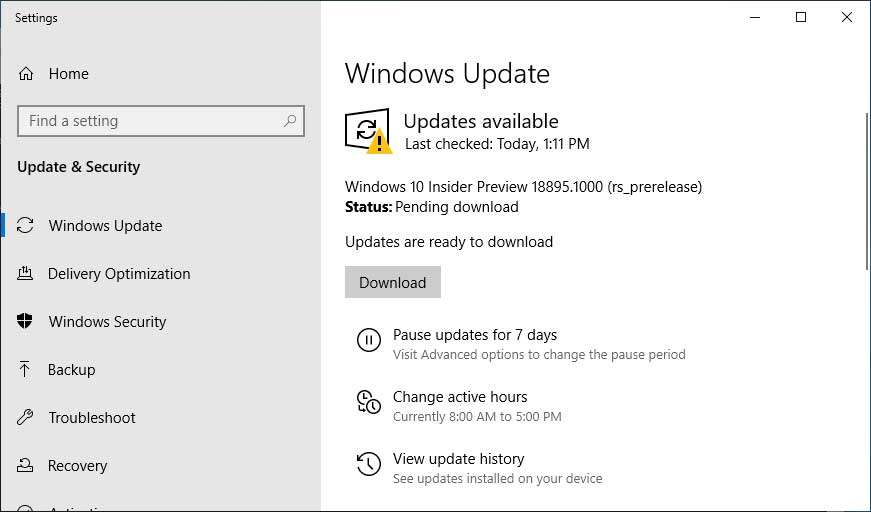Windows 10 Insider Preview Build 18895 (20H1)