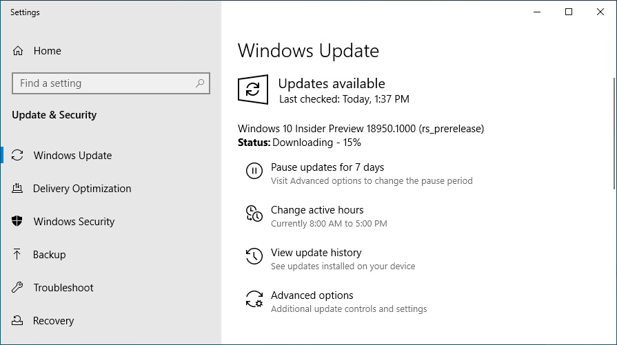 Windows 10 20H1 Build 18950