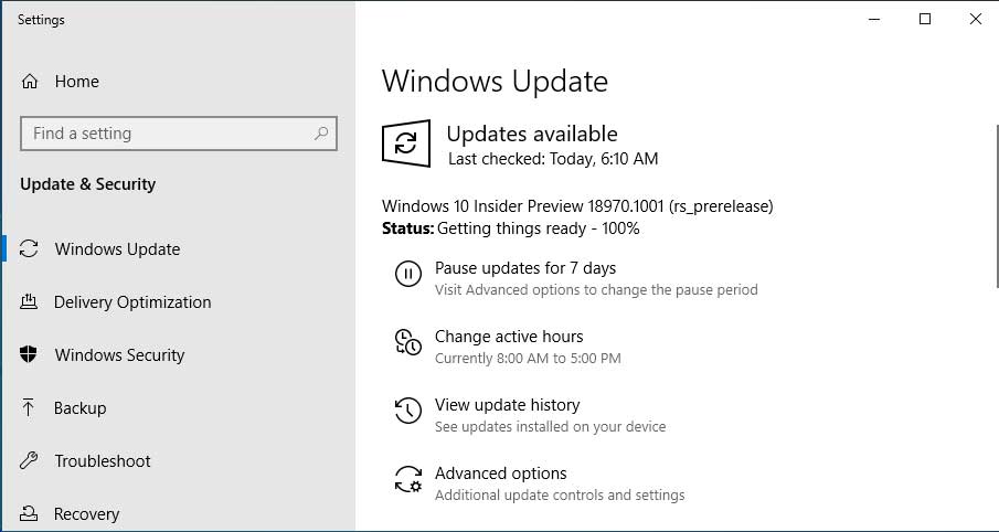 Windows 10 Insider Build 18970