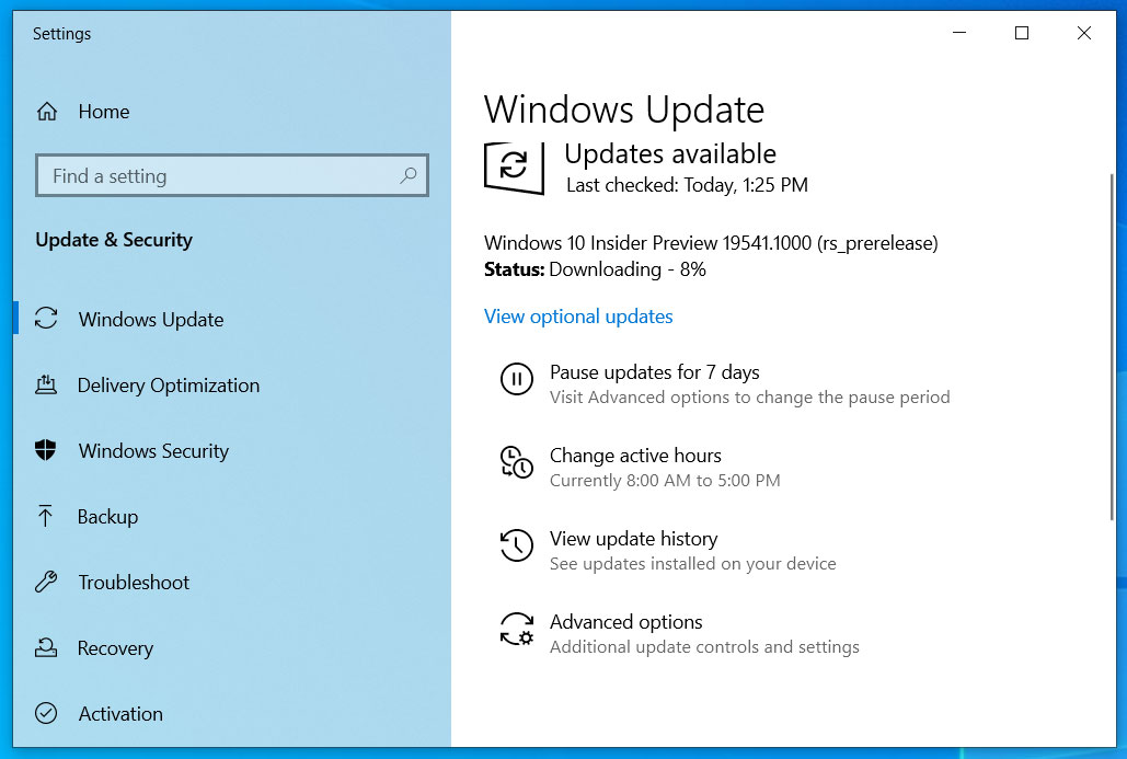 Windows 10 Insider Build 19541