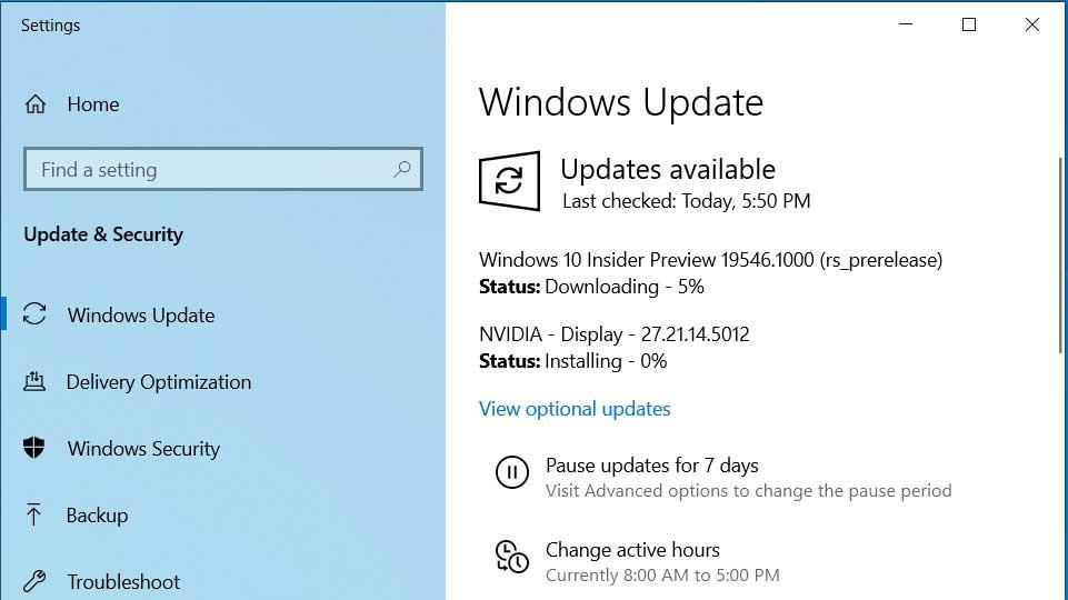 Windows 10 Insider Build 19546