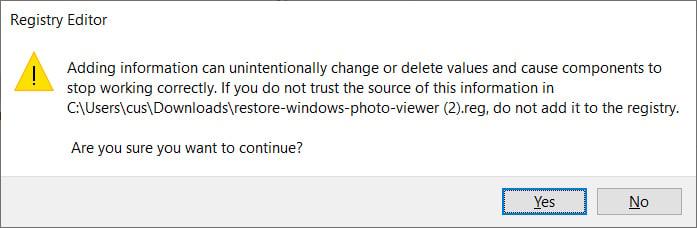 Registry Editor confirmation
