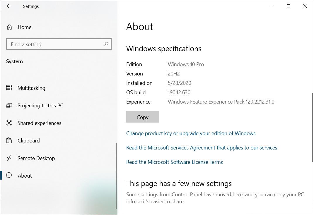 Pantalla Acerca de de Windows 10