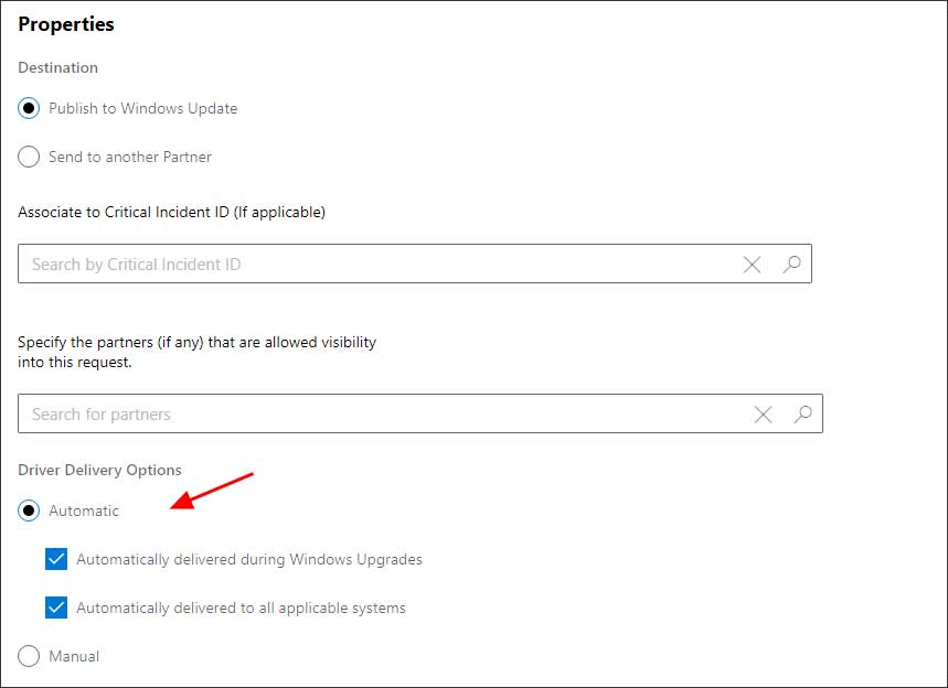 Setting delivery options for a submitted driver