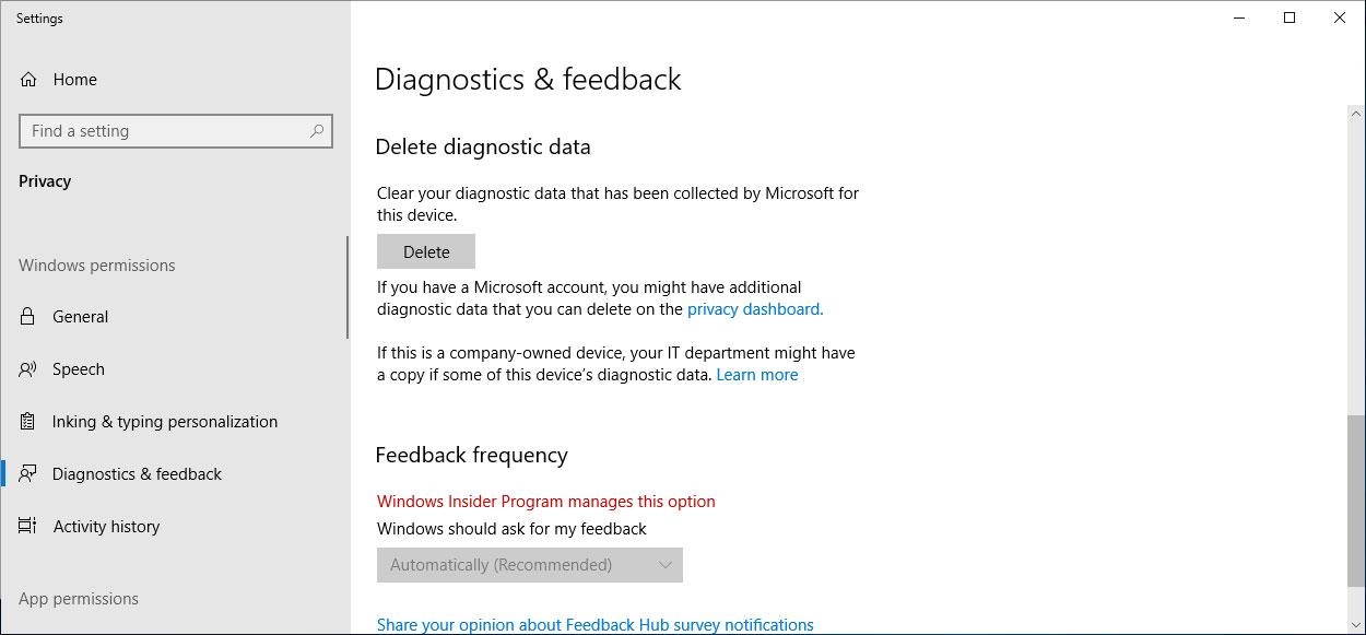 Delete Diagnostic Data