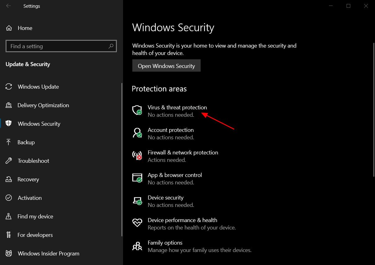 The Windows Security settings screen