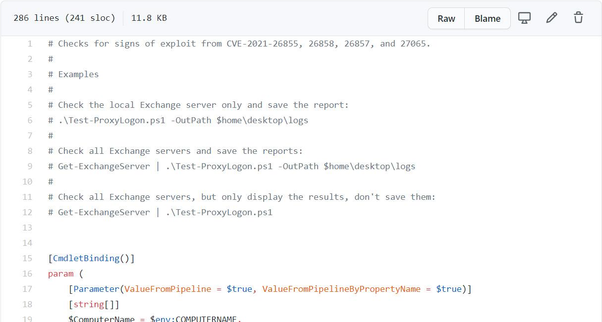 Microsoft's Test-ProxyLogon.ps1 script