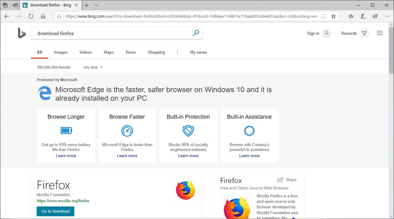 Searching for Firefox in Bing