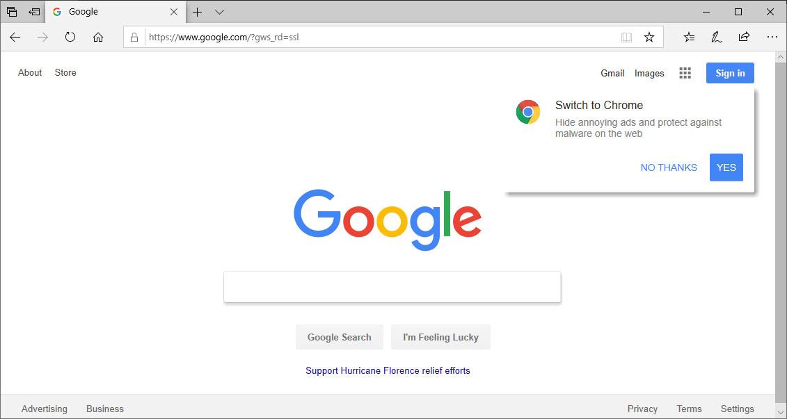 Google.com promoting Chrome