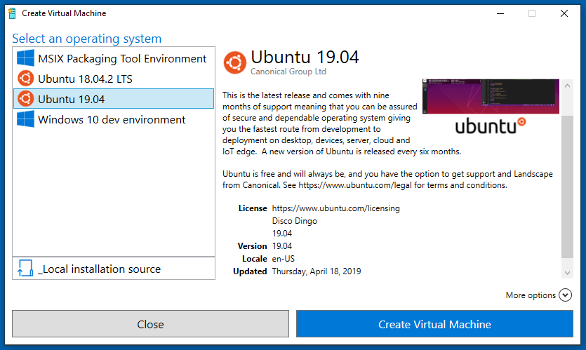 Ubuntu 19 04 Now Available in the Hyper-V Quick Create Gallery