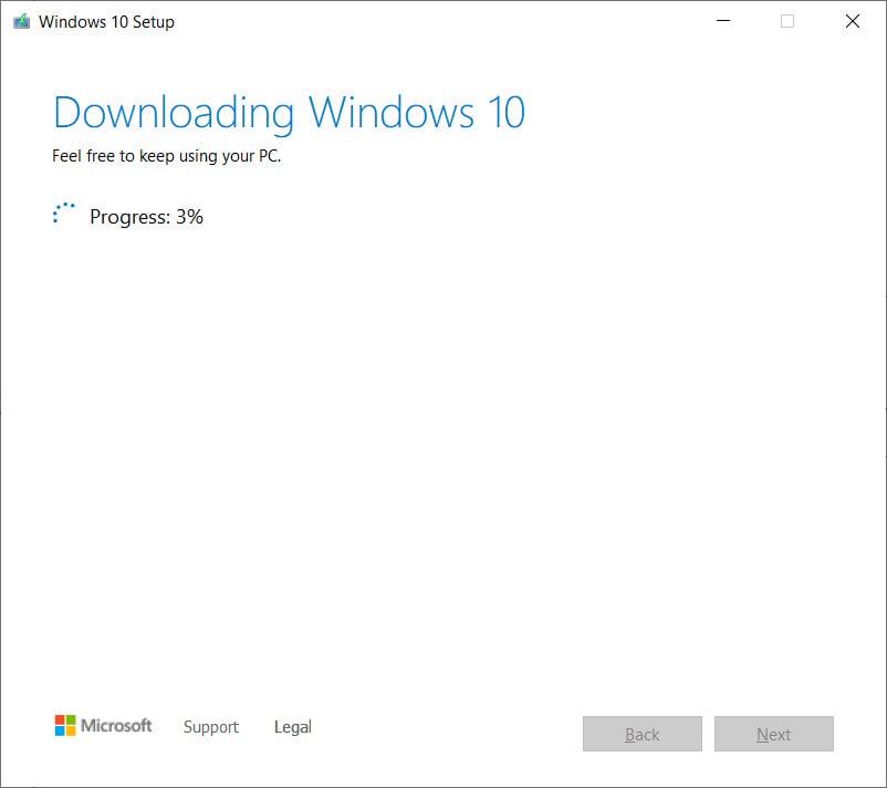 Downloading Windows 10 files