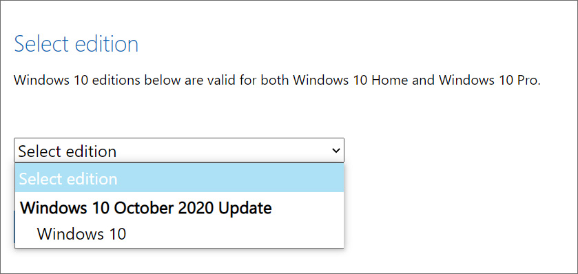 Select Windows 10 October 2020 Update