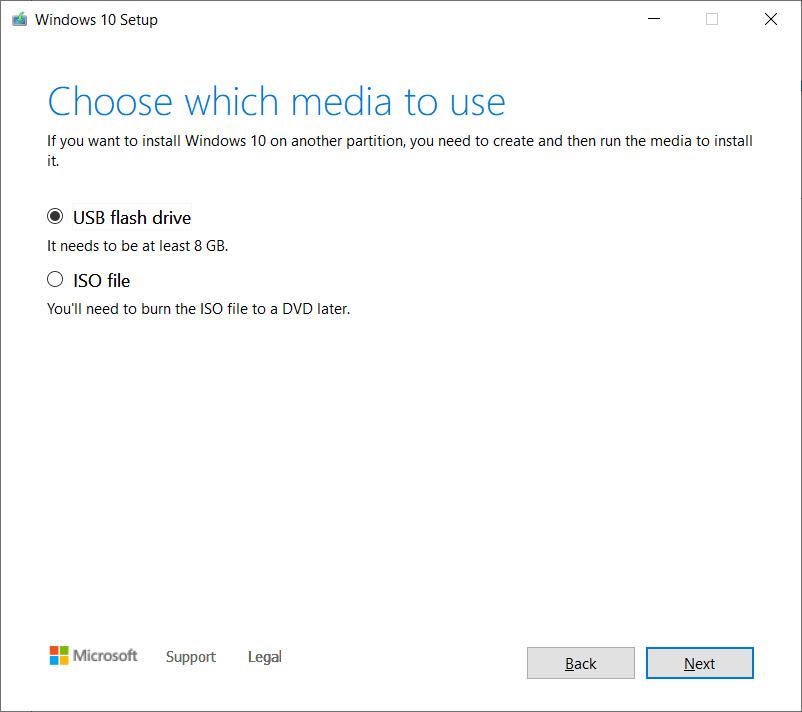Create a USB drive or ISO file