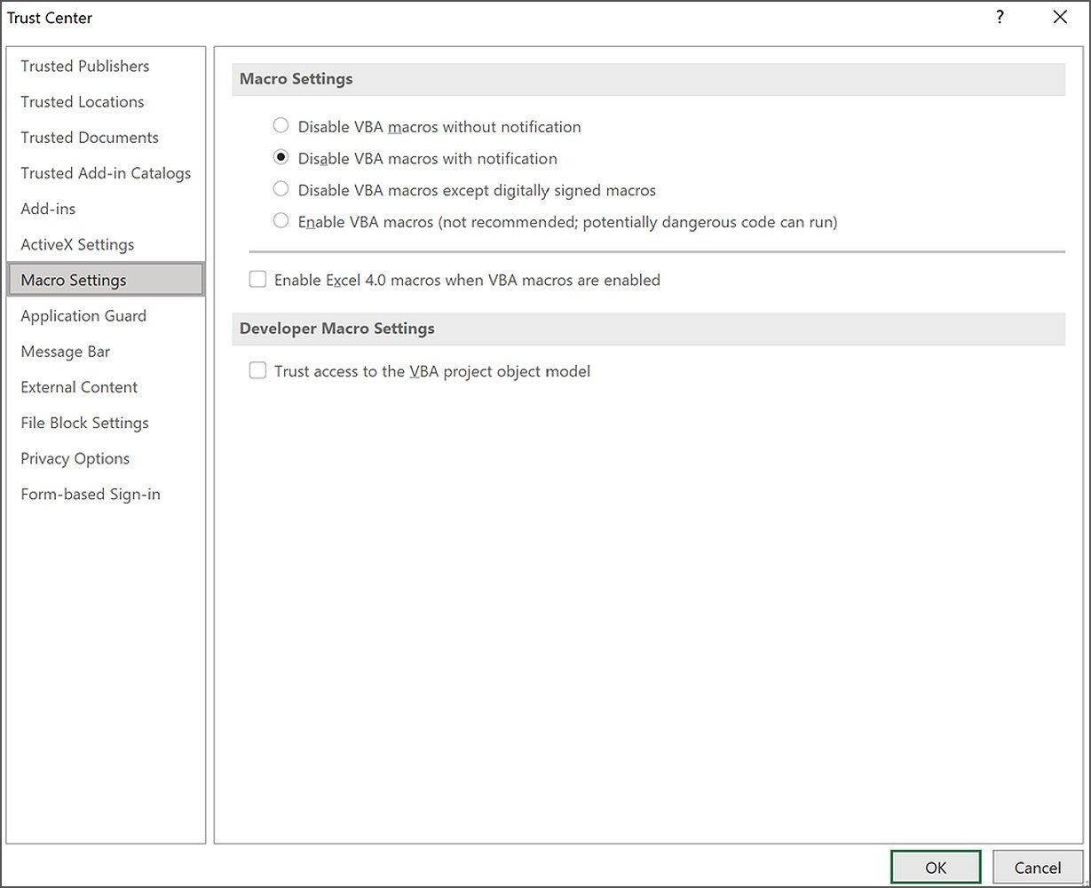 Excel Güven Merkezi'nde VBA makroları etkinleştirildiğinde XLM makrolarını etkinleştirin