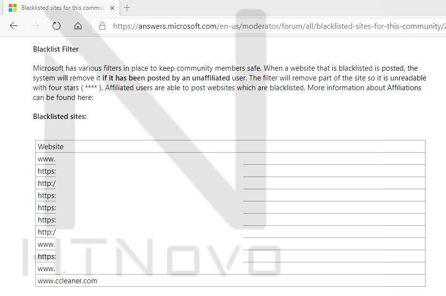 Microsoft Community Forums ban list