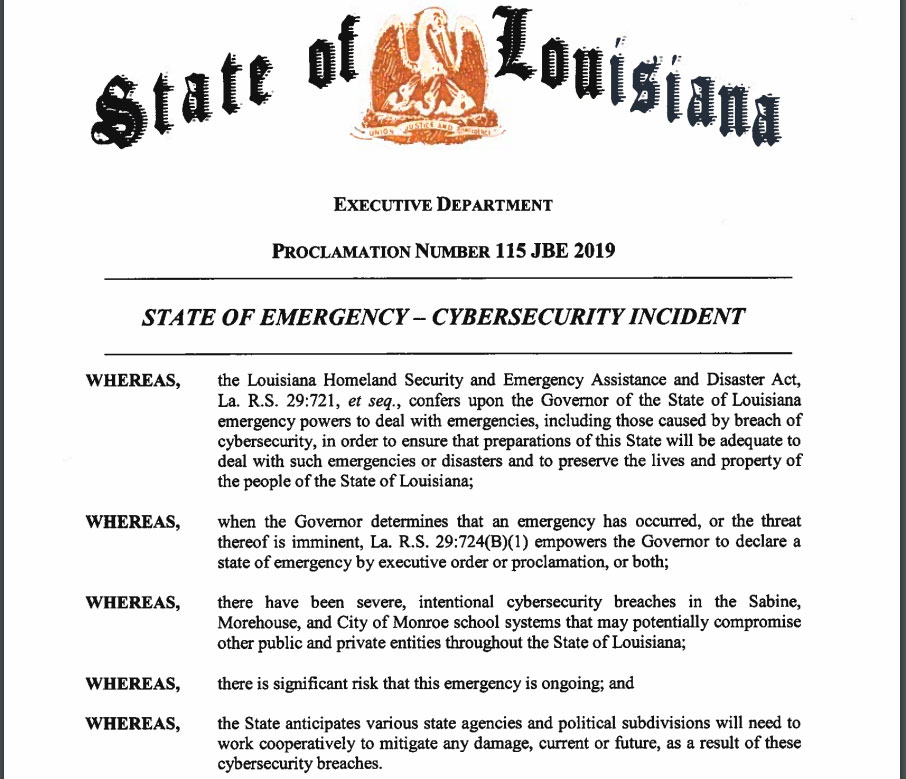 Ransomware Attacks Prompt Louisiana to Declare State of Emergency