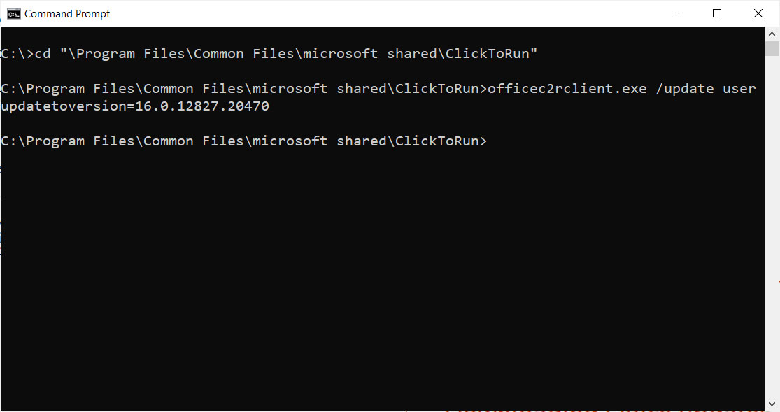 Entering commands in Command Prompt