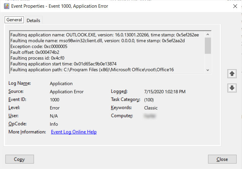 Outlook crashing on start