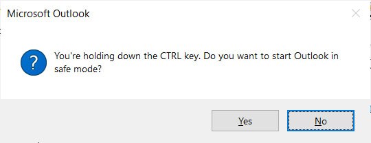 ¿Quieres iniciar Outlook en modo seguro?