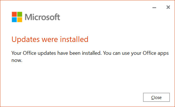 Microsoft Office updates were installed
