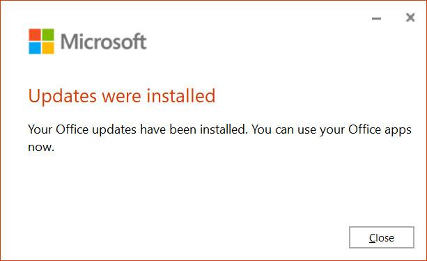 Actualizaciones de Microsoft Office instaladas