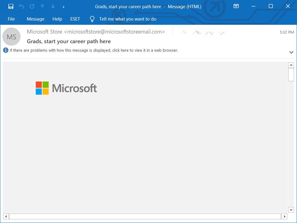 Falta el contenido del correo electrónico de Outlook