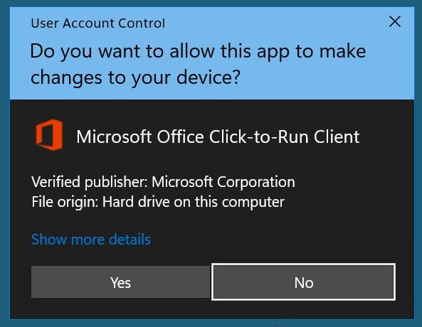 Indicación de UAC de Microsoft Office