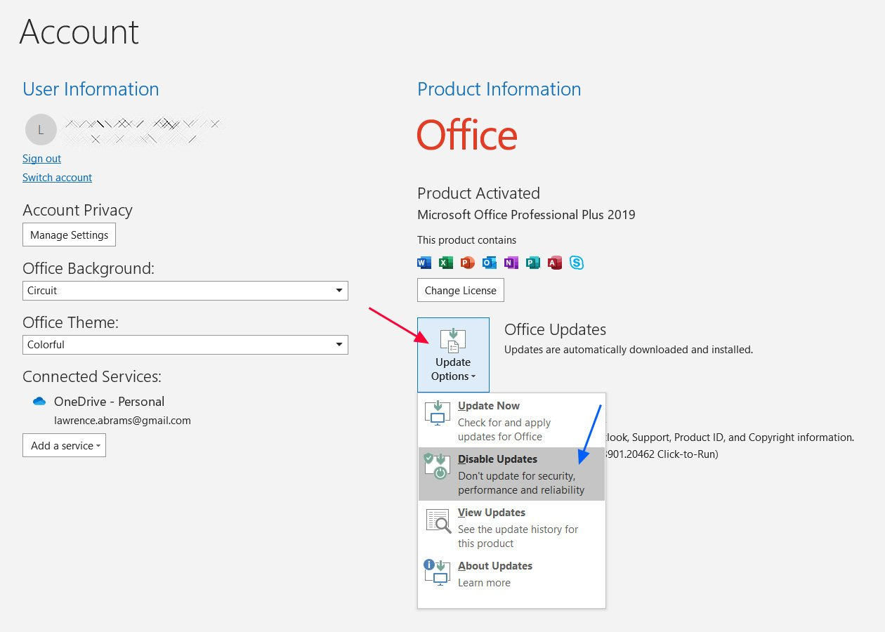 Deshabilitar actualizaciones en Microsoft Outlook
