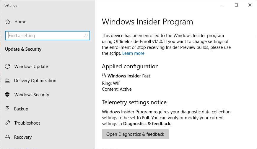 Offline Windows Insider